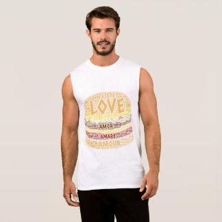 Hamburger illustrated with Love Word Sleeveless Shirt