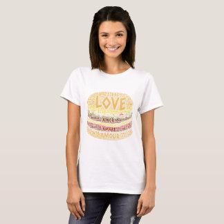 Hamburger illustrated with Love Word T-Shirt