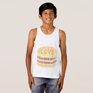 Hamburger illustrated with Love Word Tank Top