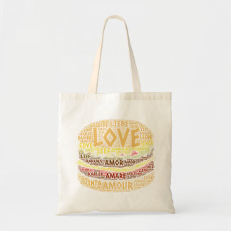 Hamburger illustrated with Love Word Tote Bag