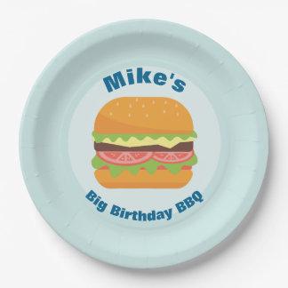 Hamburger Illustration Birthday BBQ Paper Plate
