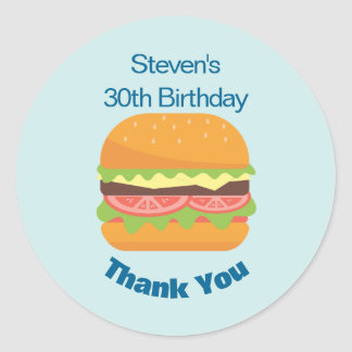 Hamburger Illustration Birthday Thank You Classic Round Sticker