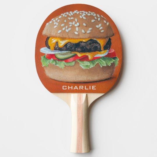 Hamburger Illustration custom name pingpong paddle Ping Pong Paddle