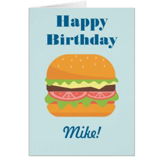 Hamburger Illustration Happy Birthday Card