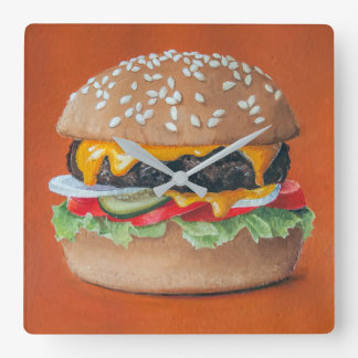 Hamburger Illustration kitchen wall clock