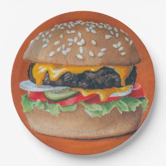 Hamburger Illustration paper plates 9 Inch Paper Plate