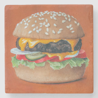 Hamburger Illustration stone coasters