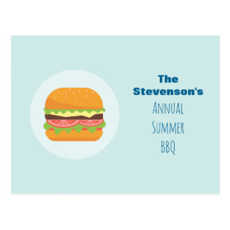 Hamburger Illustration Summer BBQ Party Invitation Postcard