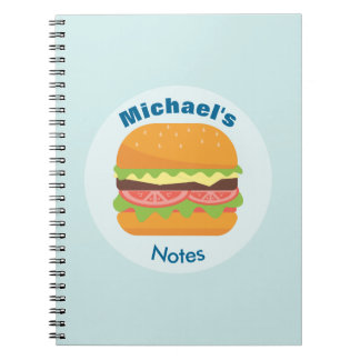 Hamburger Illustration with Tomato and Lettuce Notebook