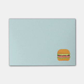 Hamburger Illustration with Tomato and Lettuce Post-it Notes