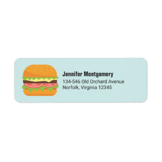 Hamburger Illustration with Tomato and Lettuce Return Address Label
