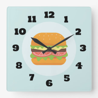 Hamburger Illustration with Tomato and Lettuce Square Wall Clock