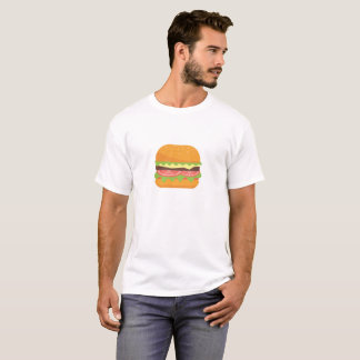 Hamburger Illustration with Tomato and Lettuce T-Shirt