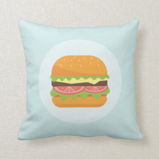 Hamburger Illustration with Tomato and Lettuce Throw Pillow
