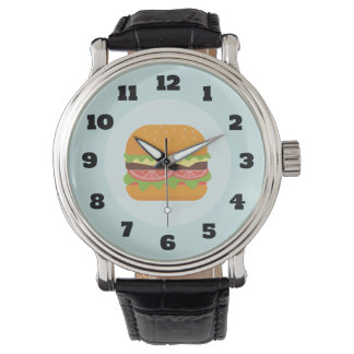 Hamburger Illustration with Tomato and Lettuce Watch