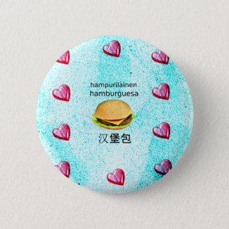 Hamburger In Finnish, Spanish, And Chinese 2 Inch Round Button