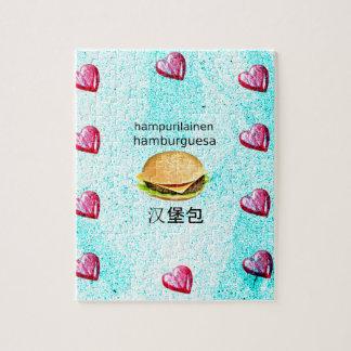Hamburger In Finnish, Spanish, And Chinese Jigsaw Puzzle