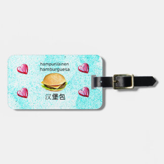 Hamburger In Finnish, Spanish, And Chinese Luggage Tag
