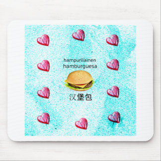 Hamburger In Finnish, Spanish, And Chinese Mouse Pad