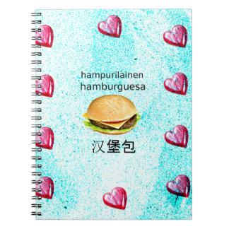 Hamburger In Finnish, Spanish, And Chinese Notebook
