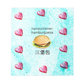 Hamburger In Finnish, Spanish, And Chinese Notepad