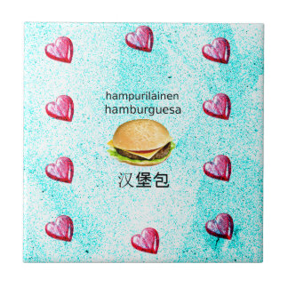 Hamburger In Finnish, Spanish, And Chinese Tile