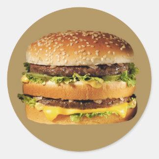 hamburger on tan classic round sticker