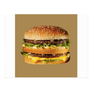 hamburger on tan postcard