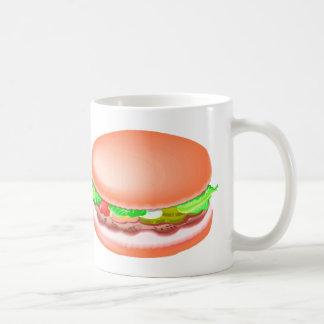 Hamburger with all the fixin's classic white coffee mug