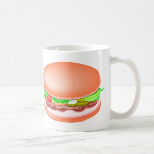 Hamburger with all the fixin's coffee mugs