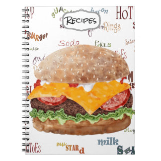 Hamburger with Cheese BBQ Fast Food Diner Notebook