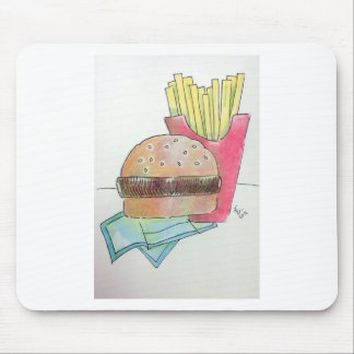 Hamburger with fries mouse pad