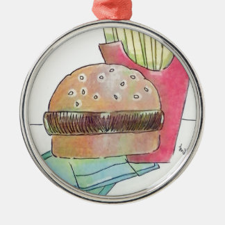 Hamburger with fries Silver-Colored round ornament