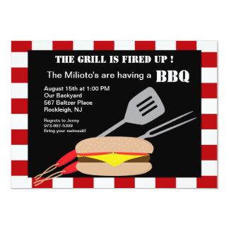 """Hamburger with Utensils Barbecue Invitation 5"""" X 7"""" Invitation Card"""
