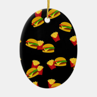 Hamburgers and french fries pattern ceramic oval ornament