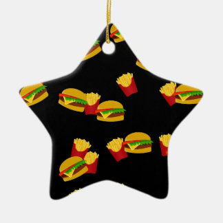 Hamburgers and french fries pattern ceramic star ornament