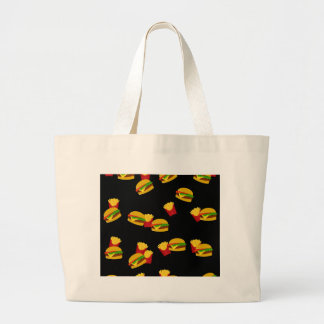 Hamburgers and french fries pattern large tote bag