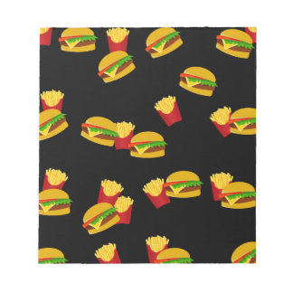 Hamburgers and french fries pattern notepads