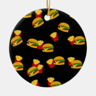 Hamburgers and french fries pattern round ceramic ornament