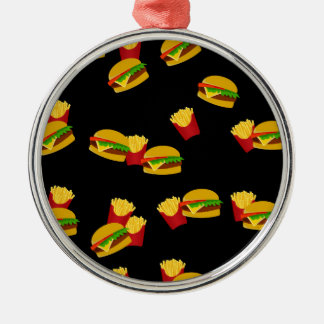 Hamburgers and french fries pattern Silver-Colored round ornament