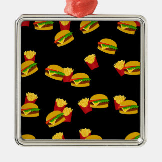 Hamburgers and french fries pattern Silver-Colored square ornament