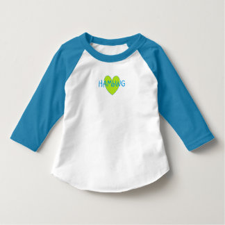 HAMbWG  3/4 Sleeve Blue/W Raglan T - Lime Heart T-Shirt