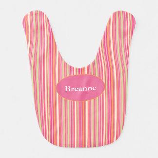 HAMbWG Baby Bib - Pink Orange Sherbert Stripe