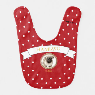 HAMbWG - Baby Bib - Puppy Delilah on Red