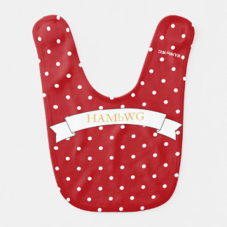 HAMbWG - Baby Bib - White Polka Dots on Red