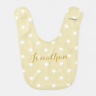 HAMbWG Baby Bib - White Stars on beige