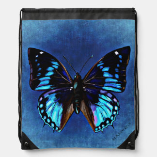 HAMbWG Blue Butterfly Drawstring Backpack
