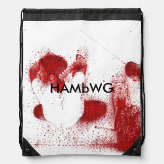 HAMbWG Drawstring Backpack -Red Skateboarder Image