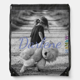HAMbWG  Drawstring Bag Girl with Giant Teddy Bear