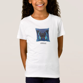 HAMbWG Fitted Babydoll TGirls Blue Butterfly T-Shirt